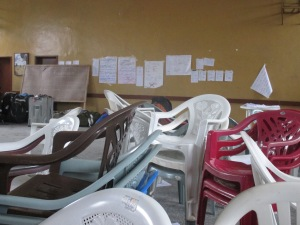 Chairs stacked in Bo city hall, where our training was located for 7 weeks. President Koroma banned all gatherings, essentially outlawing our own training.