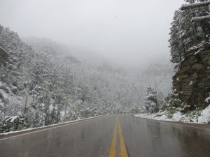 Snowfall in Spearfish Canyon, South Dakota