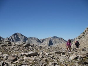 Amanda and Ben ascending Bishop Pass