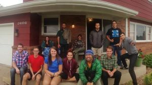 The Peace Corps Road trip the morning of September 15th, in Kearney Nebraska. Left to right; Our host Brady, Ben, Allayna, Amanda, Dawson, Aly, Brian, George, Colby, Mason, our host Holliday, and Emerson