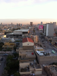 Looking towards the City Center.  In the middle of the photo is an abandoned mall that houses several hundred Iraqi refugees, including Marln Salim and his family