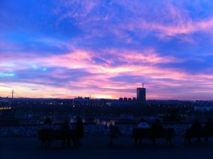 Sunset over New Belgrade from the bluffs at Kalemegdan Fortress