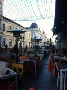 Shops and restaurants along Knez Mihailova, the main pedestrian boulevard of Belgrade