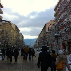 Streets of Sofia.  Vitosha Mountain in the background provided a beautiful back drop throughout much of the city