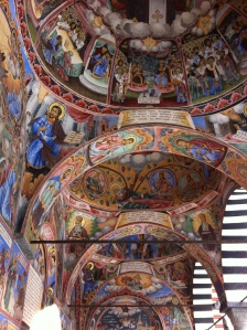 Ceiling frescoes in the chapel at Rila Monastery