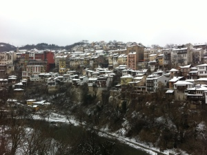 Buildings and houses climb over each other in Veliko Tarnovo