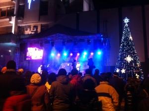 New Years night in Veliko Tarnovo. The temperature hovered around 0 degrees Fahrenheit all night