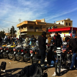 The swap meet in the center of the city where all motorcycle sales, purchases, and maintenance happens