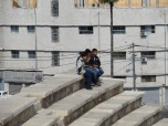I love this shot of a couple boys hanging out on top of the Roman Amphitheater