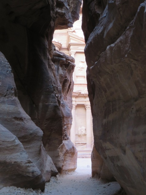Coming through the canyon to catch a first glimpse of the Treasury