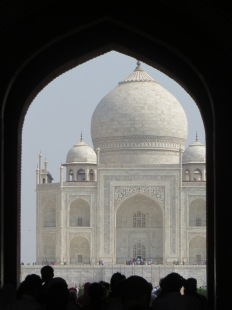The Taj Mahal as it first appears through the entry gate