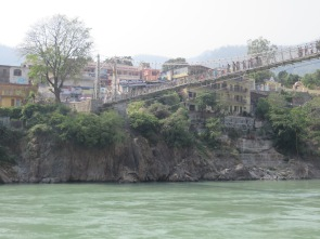 Bridge over the Ganges in Laxmanjulah, the power of the river is very deceptive