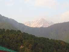 The view from our guest house. Mon Peak of the Dhalaudhars