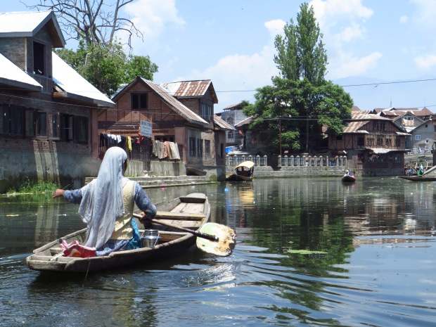 paddling in towards one of the produce markets