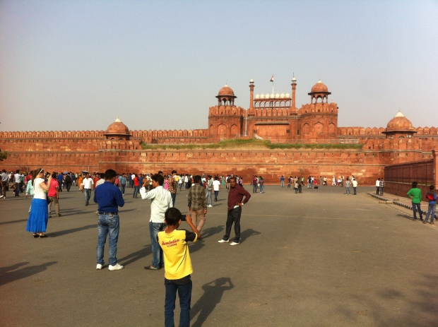 Front entrance to the massive Lal Qila, or Red Fort