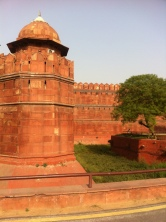 The massive walls of the Red Fort...