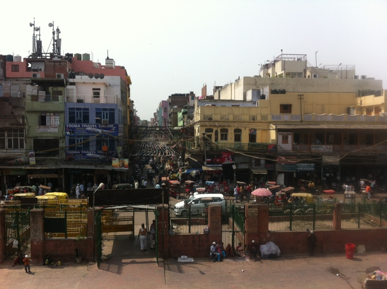 Looking down at the madness of the markets of Old Delhi