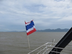 The Thai flag waving en route to Koh Chang Island