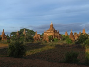 The red brick pagodas and temples stood out even more in the low morning light