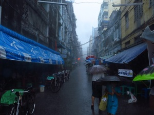 And the same street 30 minutes later in the middle of a monsoon downpour.