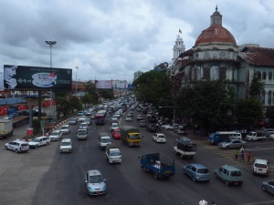 Downtown Yangon from a pedestrian bridge over Strand Street.