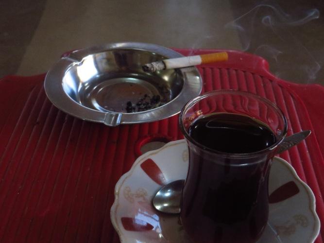 Relaxing in a teashop