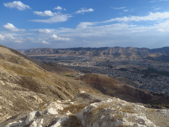 Looking down on Duhok from the north. The ridge in the far distance is the one I biked the evening prior.