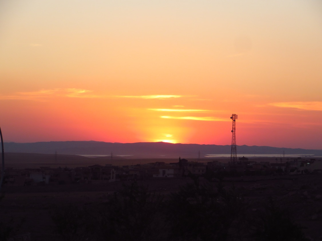 Just another sunset in Iraq, Mosul Lake and the Tigris River in view just below the mountain ridge.